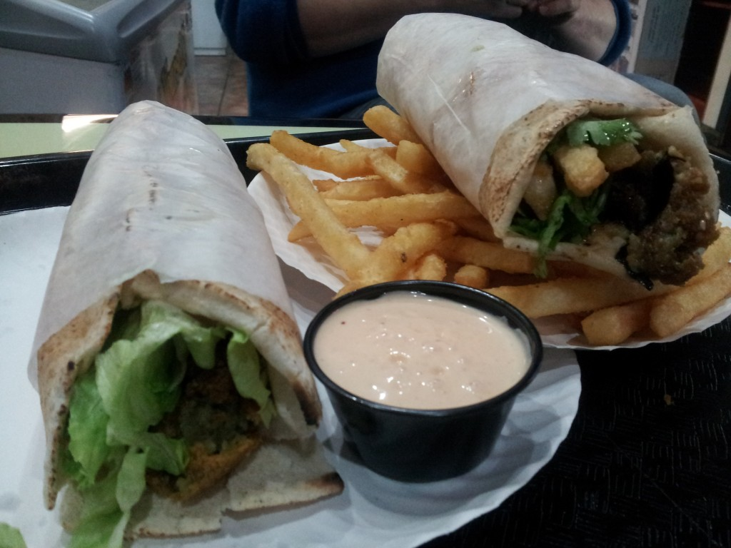 Falafel sandwich, dynamite sandwich, and french fries w/ mango dipping sauce